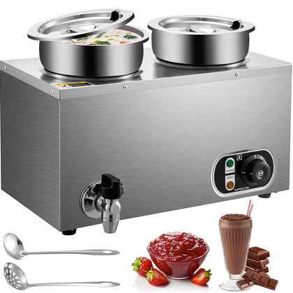 Vevor 500w Commercial Food Warmer With Dual 4l Pots Countertop Steam Soup Warmer