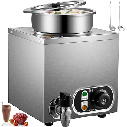Vevor 300w Commercial Food Warmer With 7l Round Pot Countertop Steam Soup Warmer