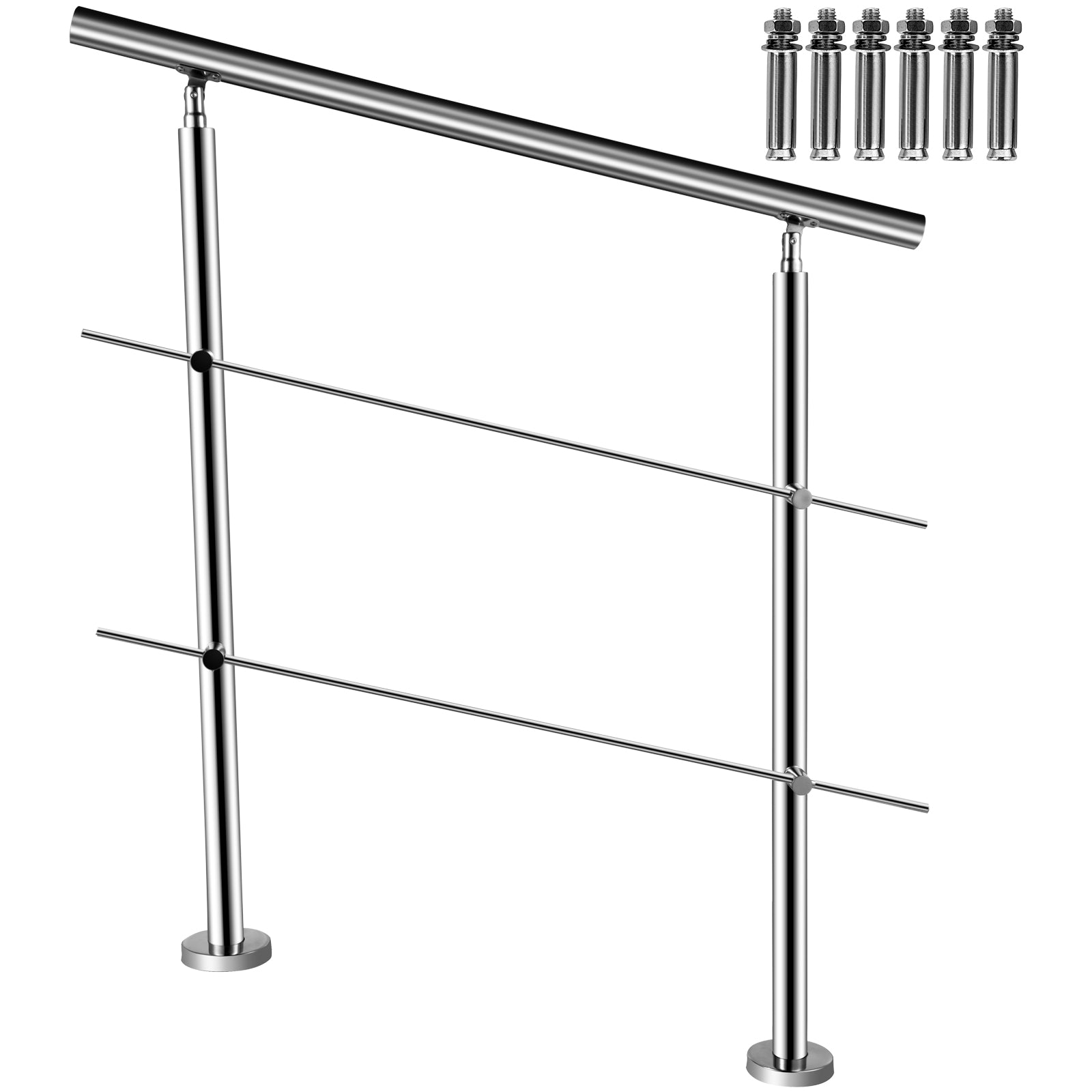 Vevor Stainless Stair Handrail Hand Rails For Steps 2 Cross Bars, Indoor Outdoor