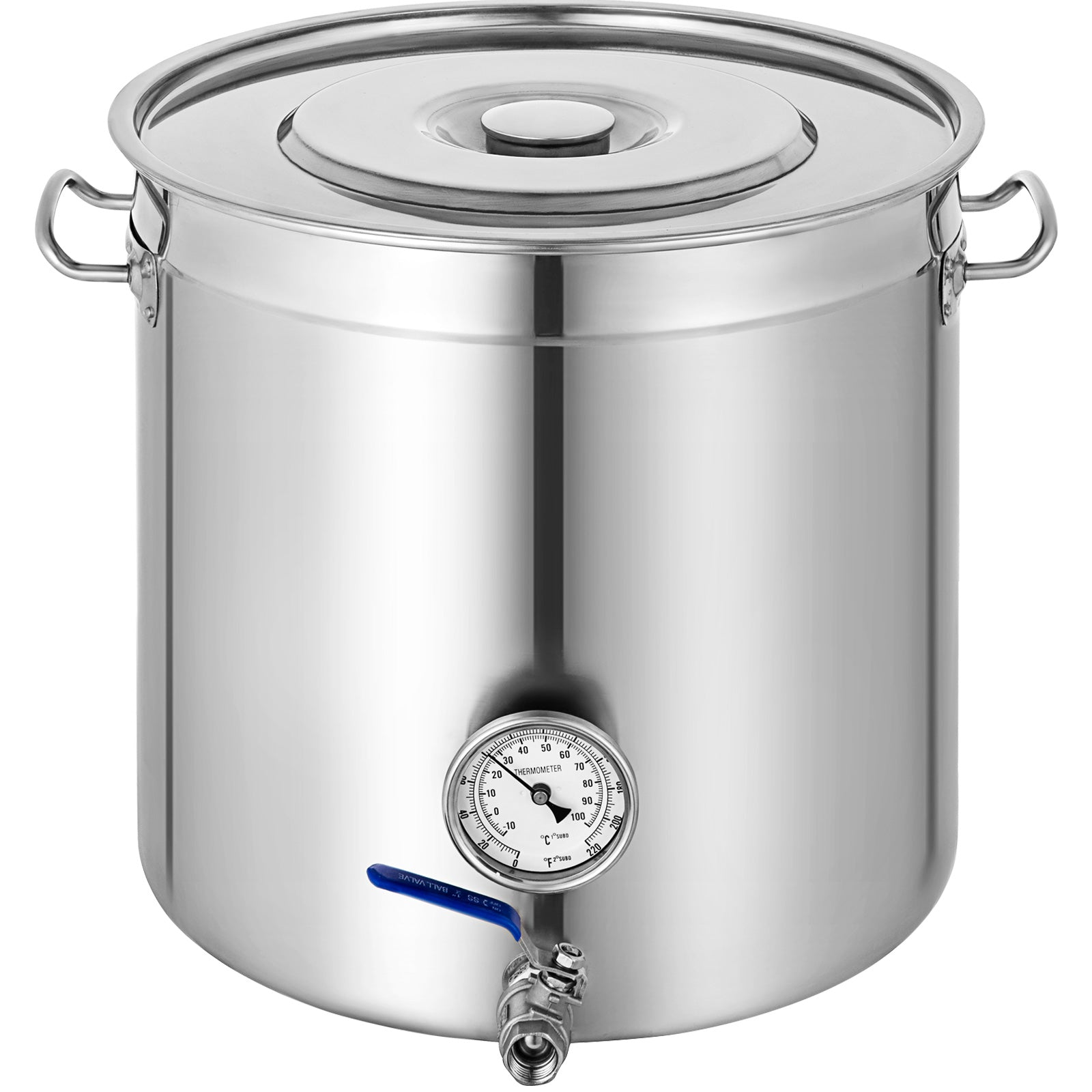 137.5qt Stainless Steel Stock Pot Steamer Vevor 130l Thermometer