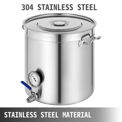Polished Stainless Steel 90l/103qt Stock Pot W/thermometer