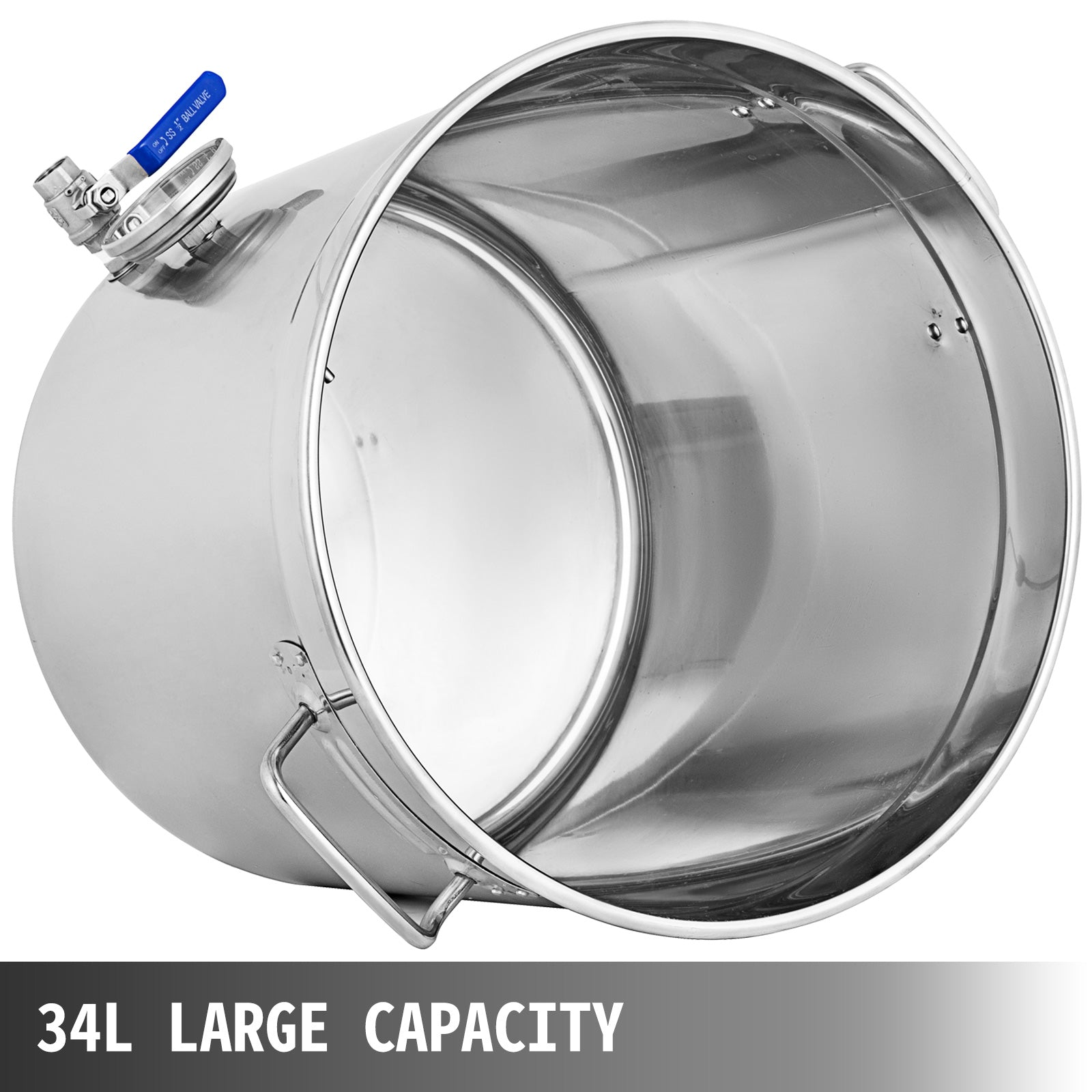 37 Qt Stainless Steel Stock Pot + Thermometer 9.25 Gallon Brew Kettle Homebrew