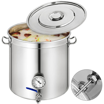 53 Quart 50l Stainless Steel Beer Brewing Stock Pot Kettle Steam Rack W/lid