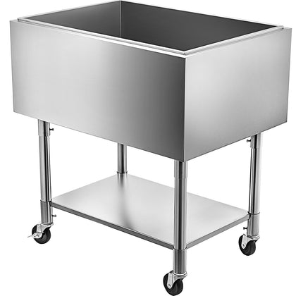 Vevor Stainless Steel Underbar Ice Bin Rolling Cooler Cart 30 X 21 In, Ice Chest