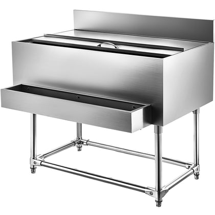 Stainless Steel Underbar Ice Bin, Standing Cooler 48 X 21 Inch Ice Chest For Bar