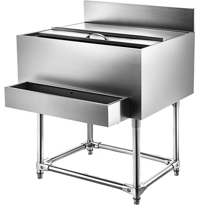 36x24 Stainless Steel Underbar Ice Bin Storage Bottle Holders 20ga Cocktail Unit