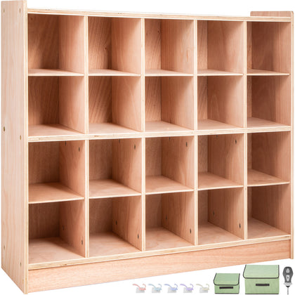 Classroom Storage Cabinet Preschool Wooden Cubby 20 Grids Organizer W/ Casters