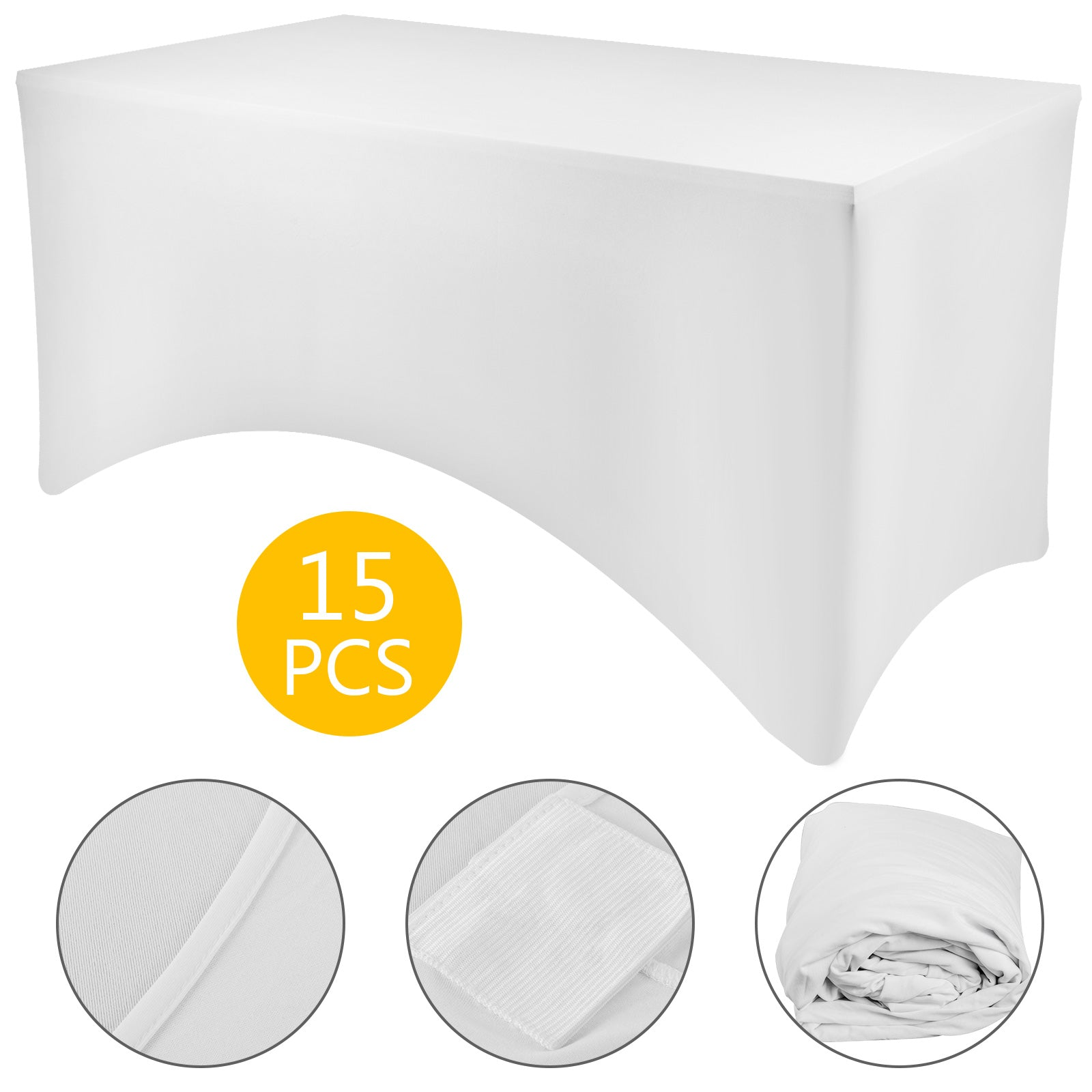 15pcs 6ft Rectangular Stretch Tablecloth Cover Fading Fabric Feet Pockets White
