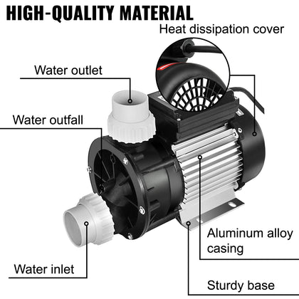 Ja75 Whirlpool Circulation Pump Jet Pump Hottub Spa Resistant Mechanical Bathtub