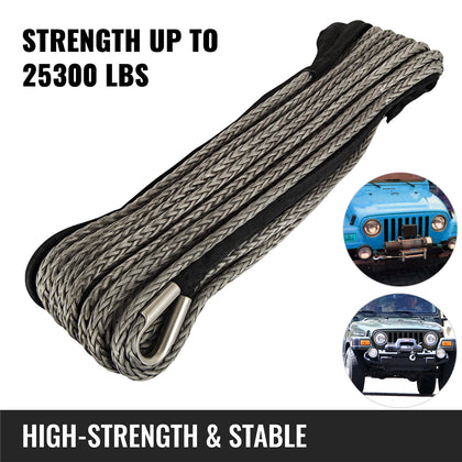 Synthetic Winch Cable 1/2'' 82ft Extension Rope Synthetic Fiber Winch Black