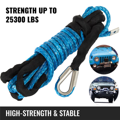 98ft*1/2'' Synthetic Winch Rope Winch Cable Extension Rope 16500bs Heavy Loading