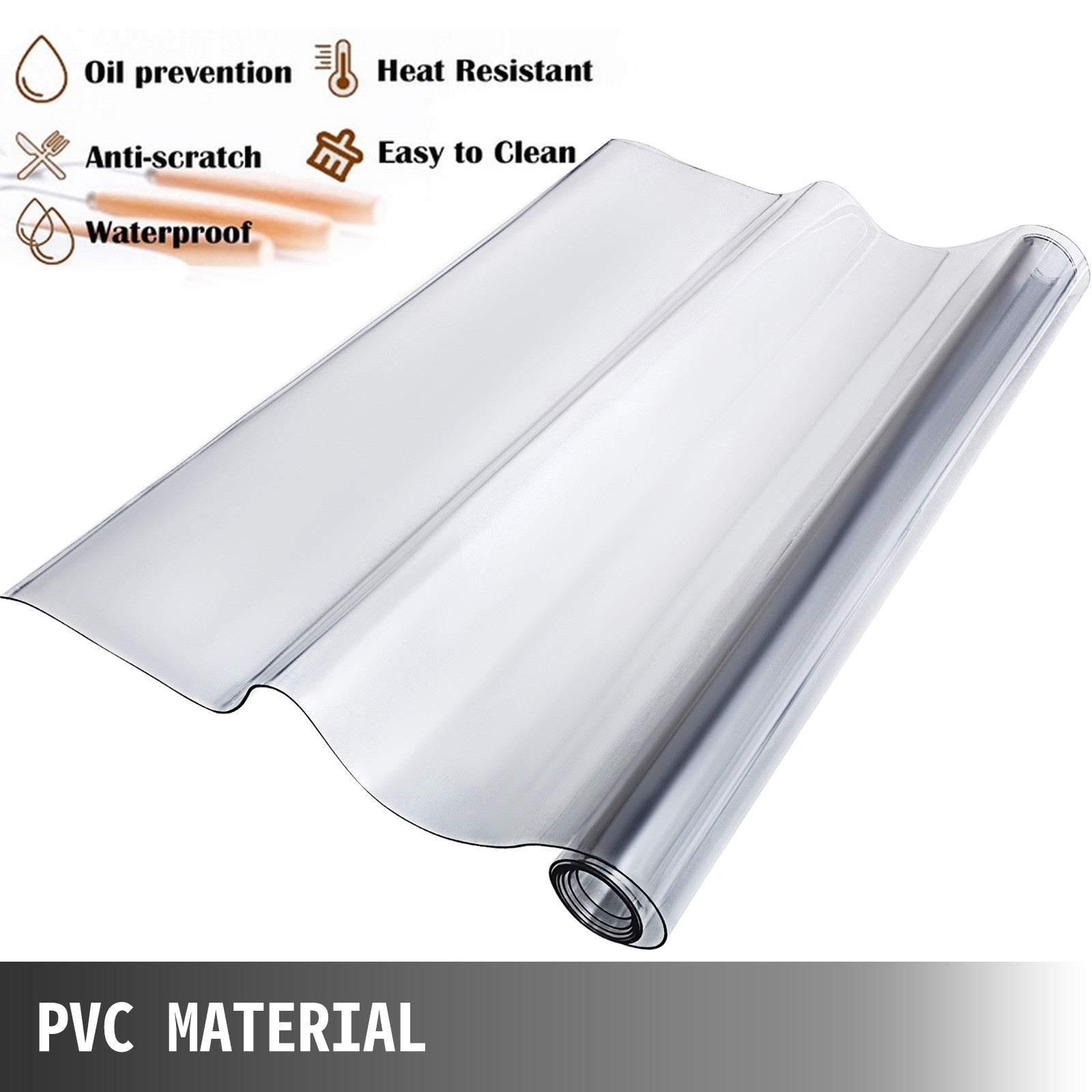 "Tablecloth Heavy Duty Plastic Clear Pvc Table Cover Spills Protector 45"" X 100"""