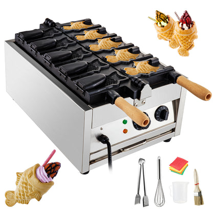 Commercial Taiyaki Maker Fish Waffle Iron Baker Machine Electric Nonstick 5pcs