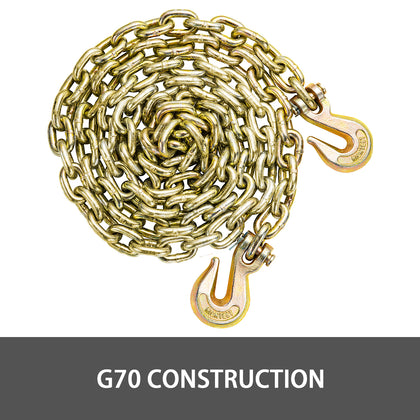 Tow Chain Grade 70 Chain 8mmx3.8m With Safety Grab Hooksfor Logging 2 Pcs
