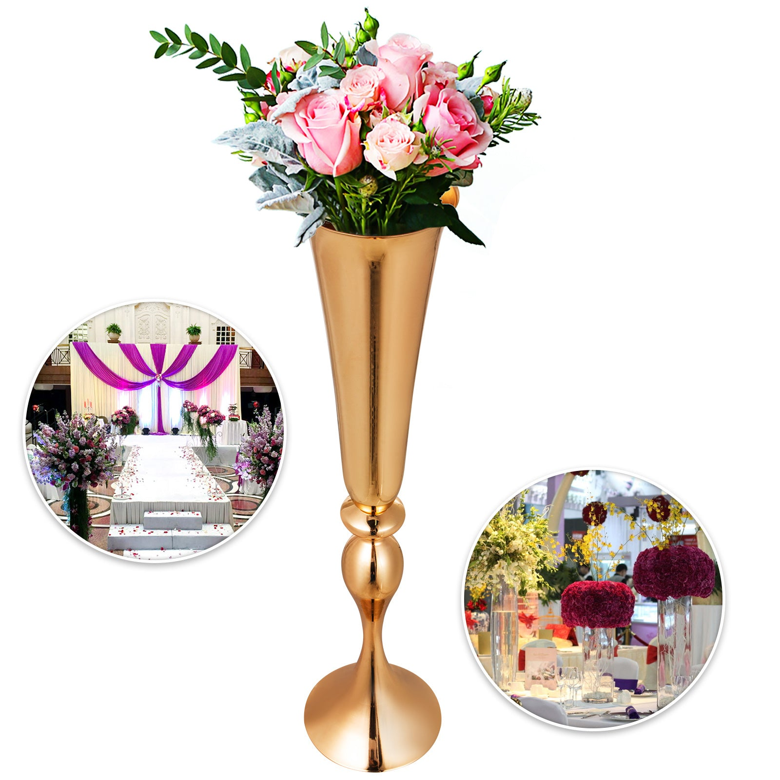 Trumpet Vase 22 In Wedding Flower Stand 10pcs Gold Centerpieces Candle Holder