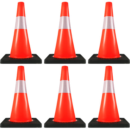 6× Road Traffic Safety Cones Overlap 18