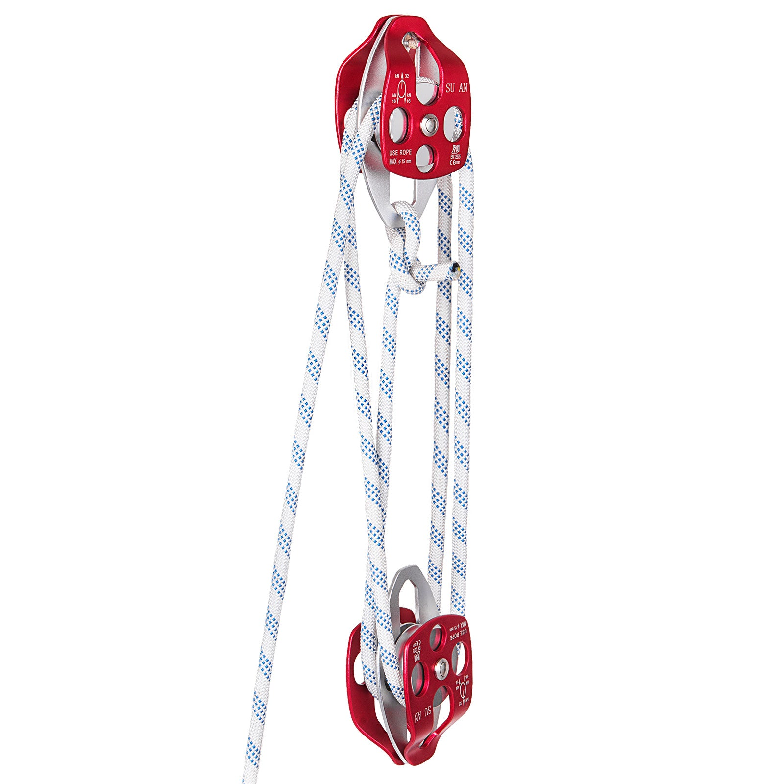 "Twin Sheave Block And Tackle 6300lb Pulley 250ft/76m 7/16"" Double Braid Rope"