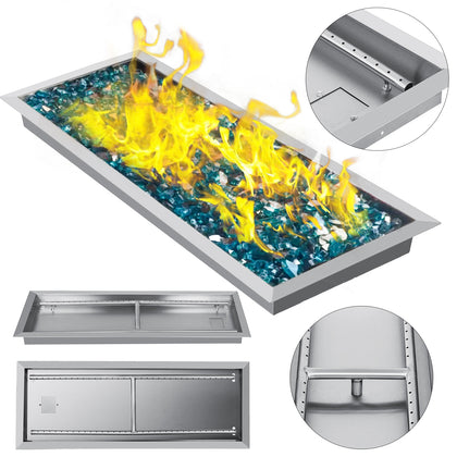 Drop-in Fire Pit Pan W/ Burner 31.5