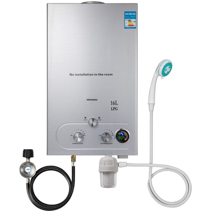16l Tankless Hot Water Heater Propane Gas 4.3gpm Water Filter Led Display