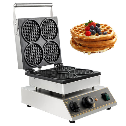 Commercial Electric Mini Round Waffle Maker Baker Tea Shop 1750w Thick Handles