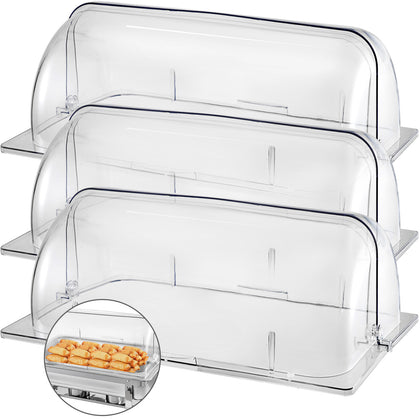 Vevor 3 Pack Chafing Dish Cover Clear Full Size Roll Top Bakery Pan Display Case