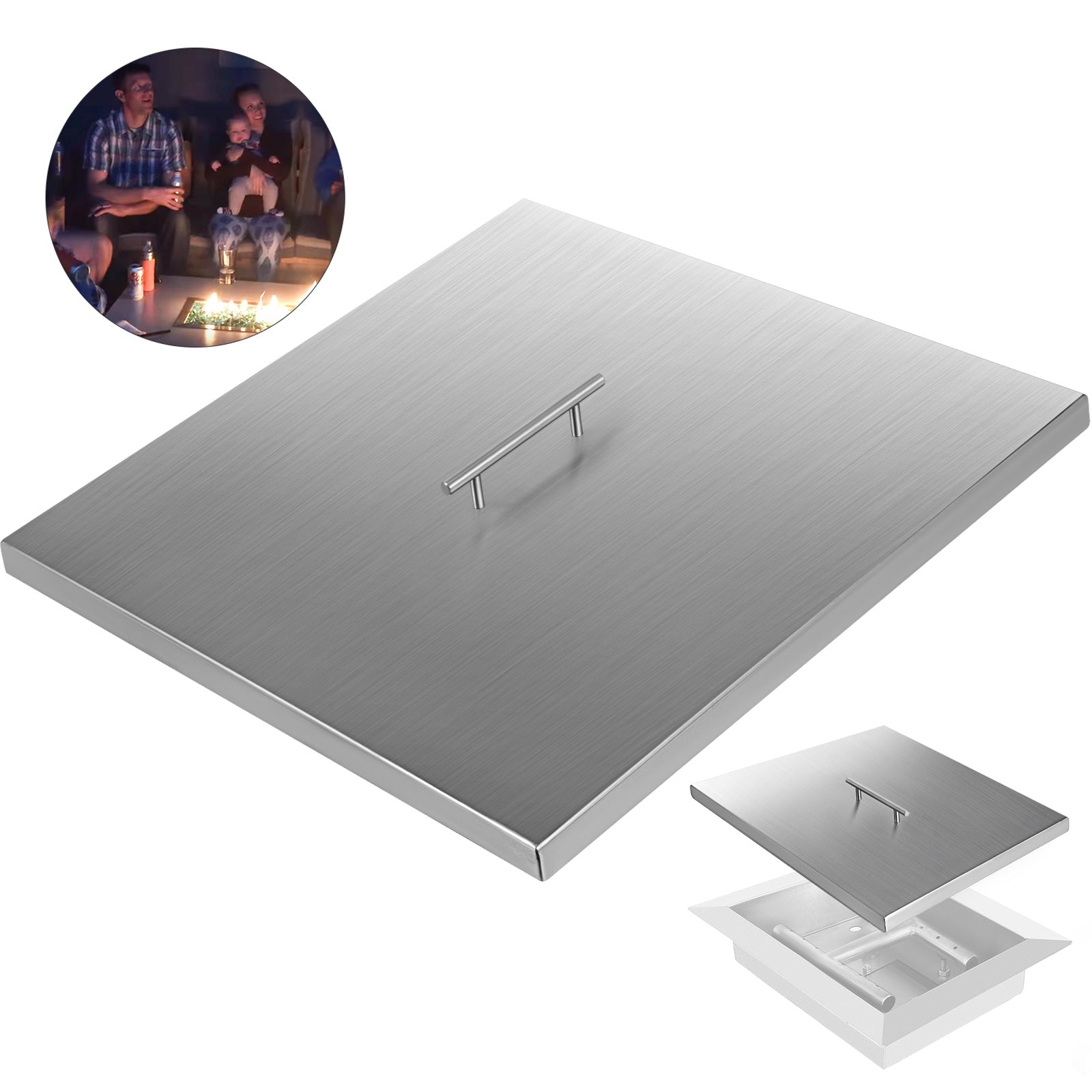 "27""x 27"" Fire Pit Cover Lid For Linear Burner Pan Outdoor Patio Backyard Indoor"