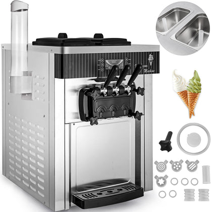 Commercial Countertop Frozen Soft Serve Ice Cream Maker Machine Mix Flavors 110v