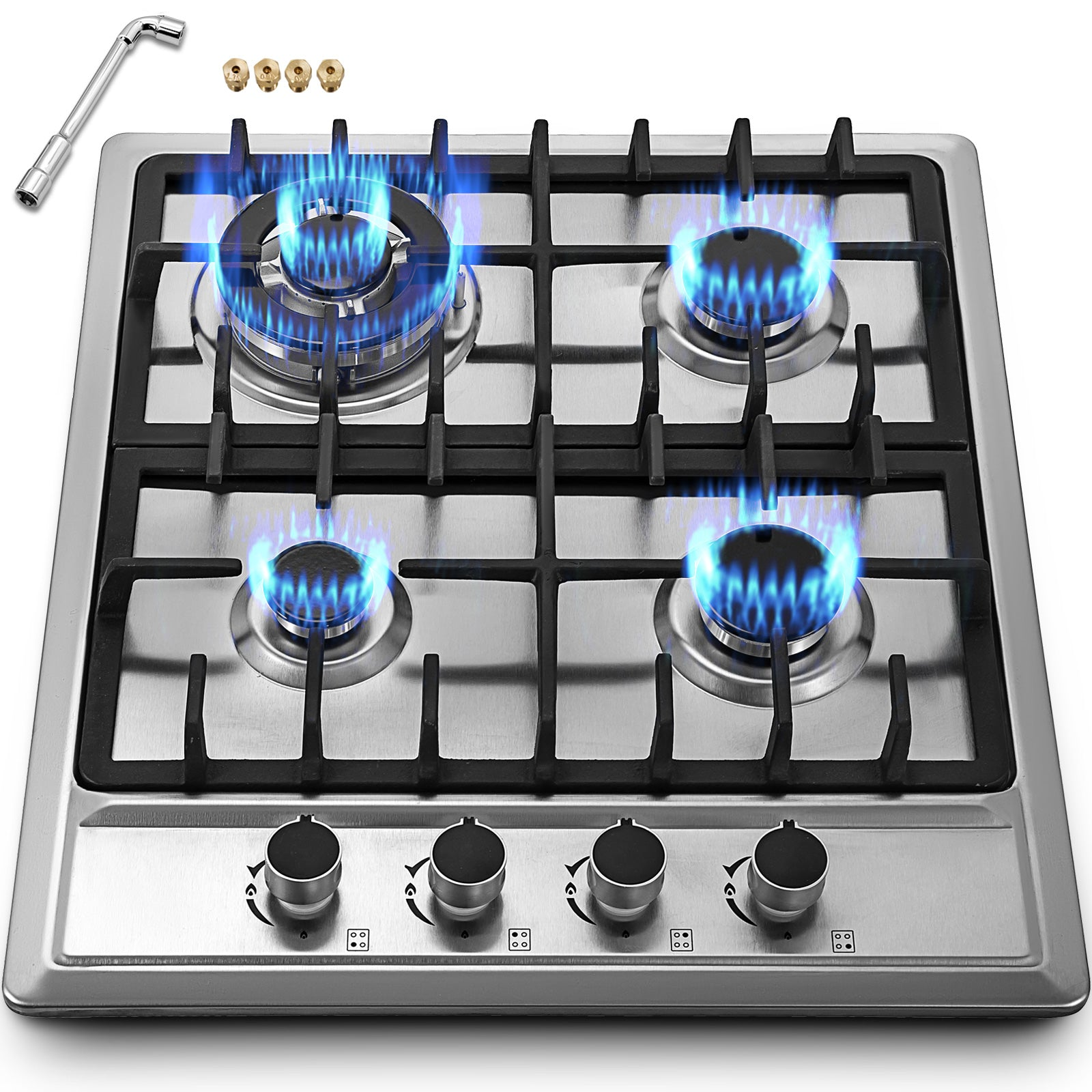 "22.8"" 4 Burners Lng/lpg Gas Cooktops Cooker 110v Plug Kitchen Cooktop"