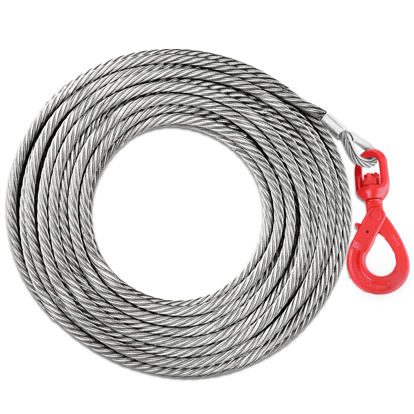 Winch Cable With Self Locking Swivel Hook 50' 4400lbs 2t Wire Rope Tow