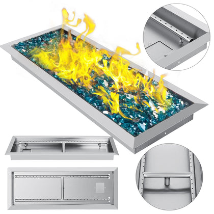 Drop-in Fire Pit Pan W/h-burner 24 X 8 Table-top Rectangular 24 By 8-inch