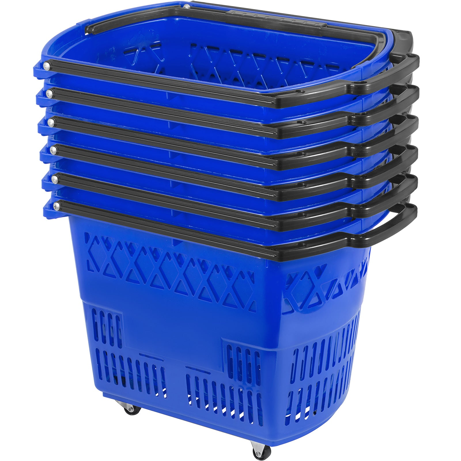 6pcs Blue Shopping Basket 75lbs 21x13.2x14.3in Lightweight Durable Supermarket