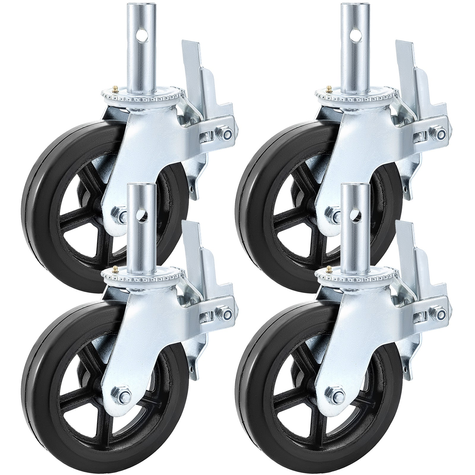 "Scaffolding Casters 8"" X 2"" 4pcs Locking Brakes Swivel Rubber Cast 1100lbs"