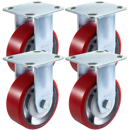 4pack 5'' Pu Rigid Casters 800lbs Capacity Rigid For Furniture Dolly Carts