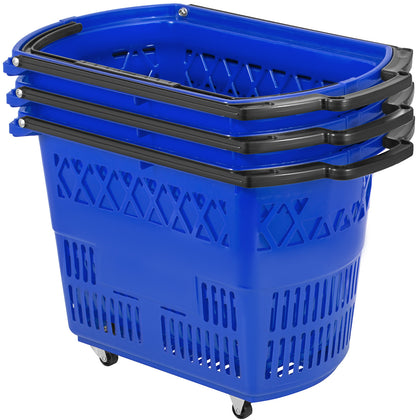 3pcs Blue Shopping Basket 75lbs 34kg/75lbs Metal Handles Lightweight Handy