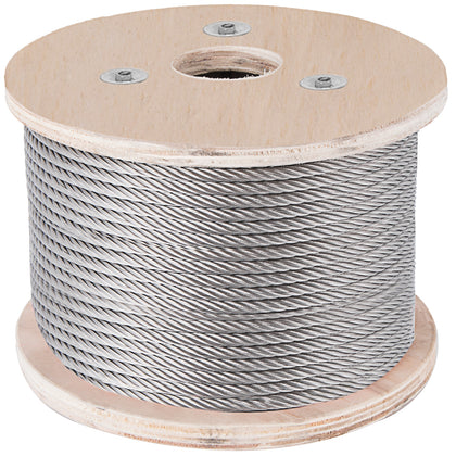 Cable Railing Type 304 Stainless Steel Cable Wire Rope, 1/4,7x19, 250 Ft Reel