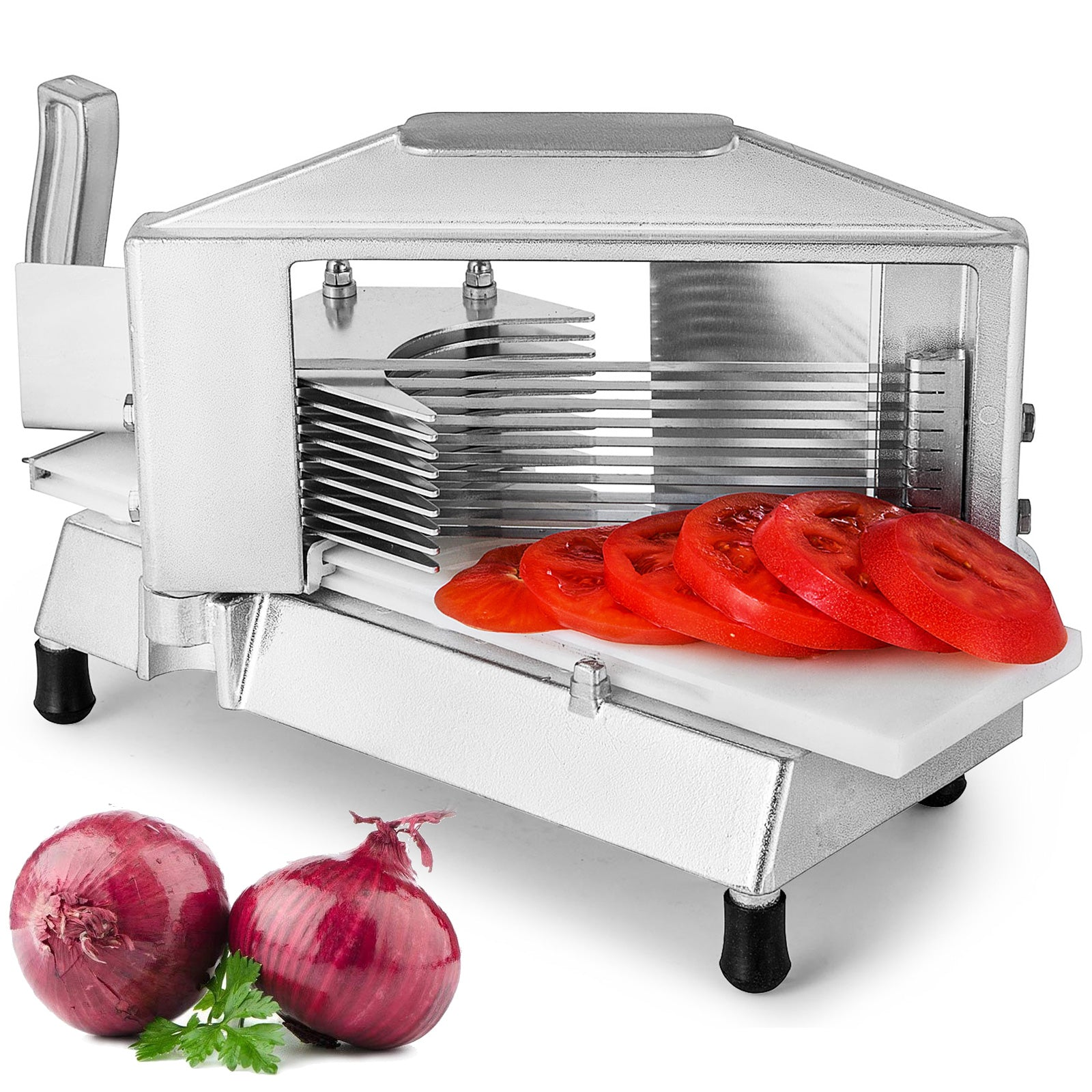"Commercial Tomato Slicer Fruit Cutting Machine 1/4"" Stainless Steel Blade Restau"