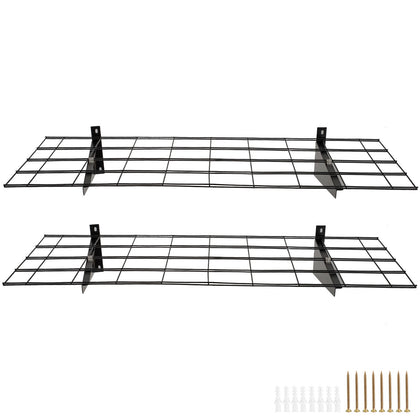 2 Pcs Black Storage Wall Shelving 88-132lbs Total Garage Steel Construction
