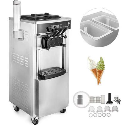 2200w Commercial Soft Ice Cream Machine 3 Flavors 5.3-7.4gallons /hour Led Panel