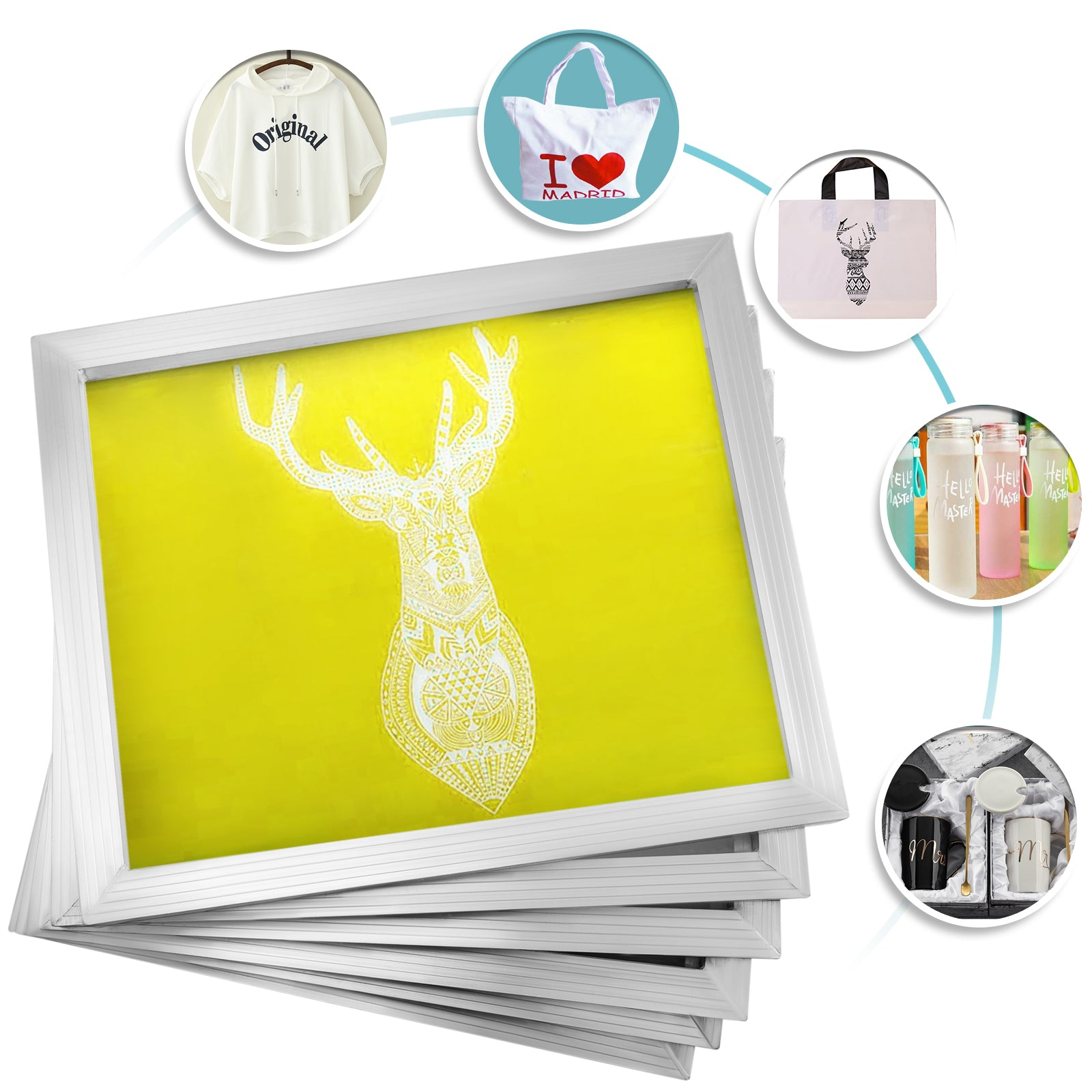"6 Pack 20""x24"" Aluminum Frame Silk Screen Printing Screens With 230 Mesh"
