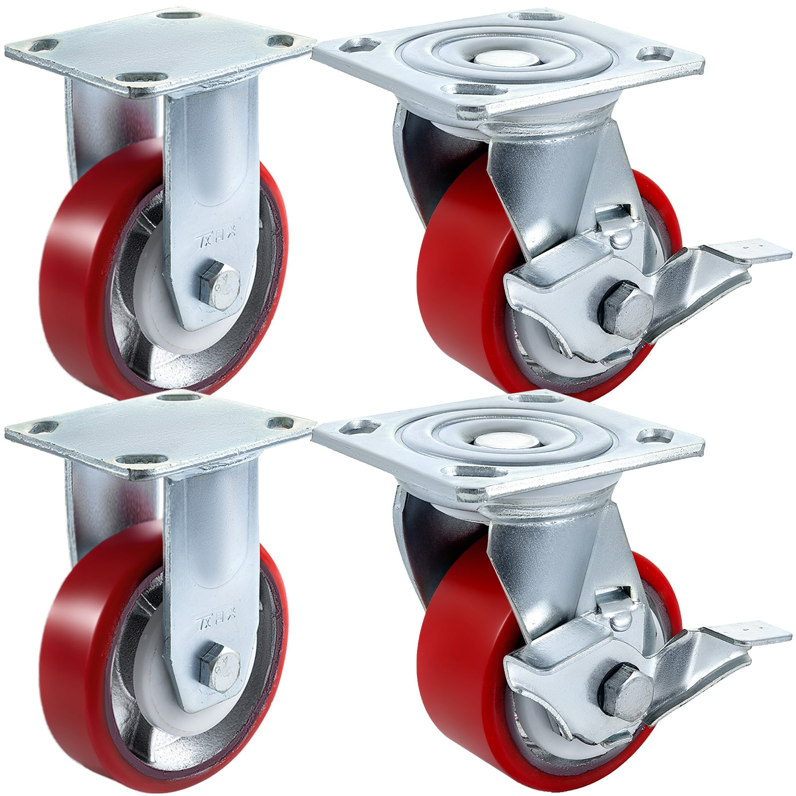 "4"" X 2"" Polyurethane 2 Rigid & 2 Swivel Casters No Marking Polyurethane Flexibly"
