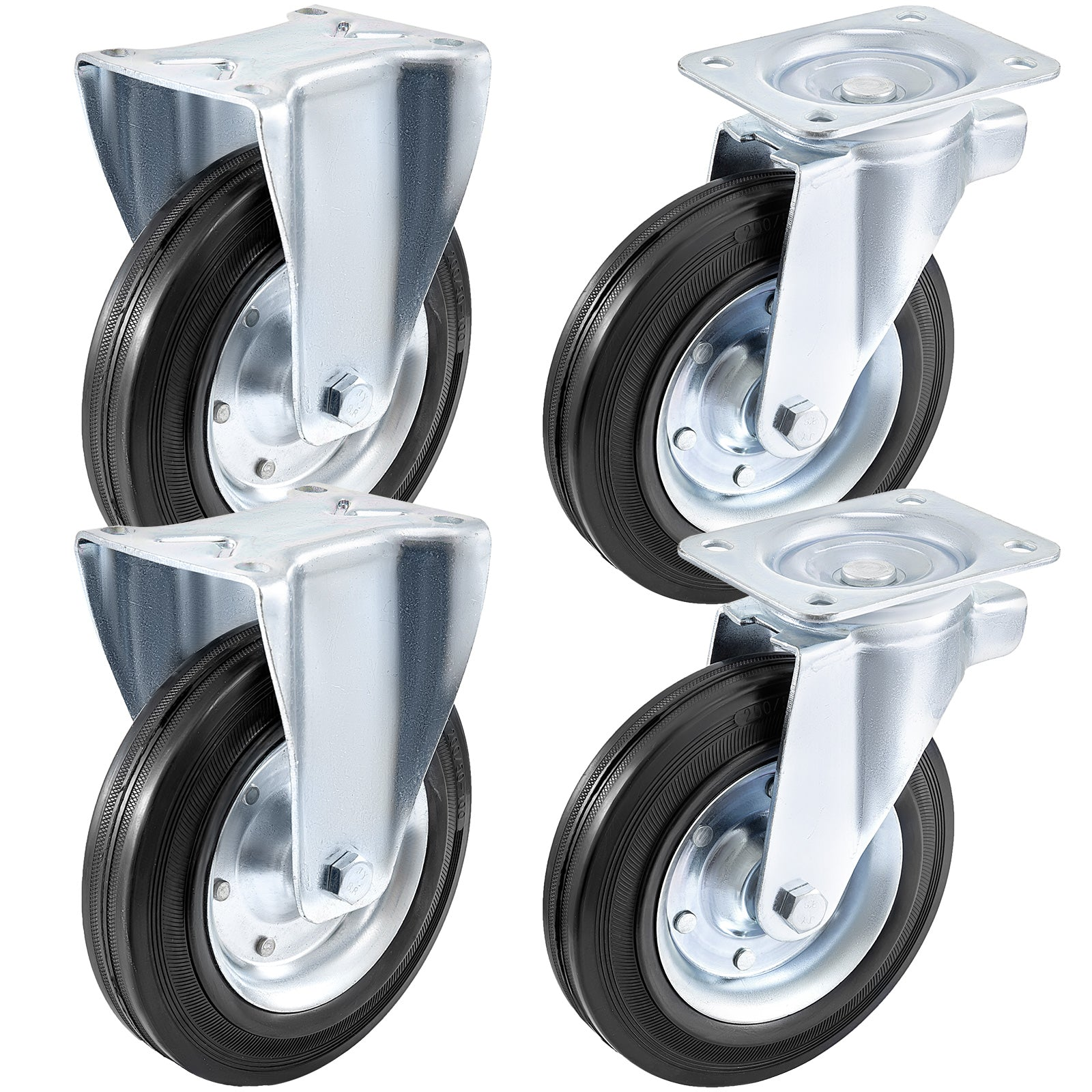 "8"" Casters 2 Rigid & 2 Swivel Rubber Steel Steel Floor Protection No Noise"