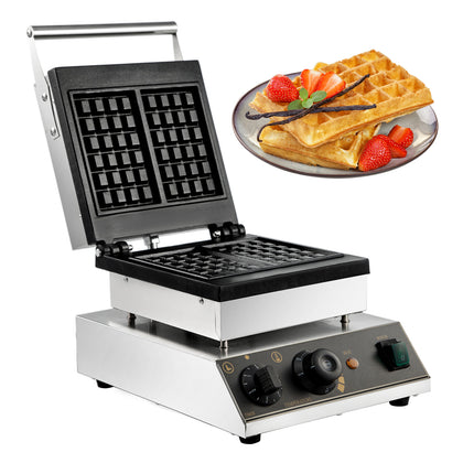 Commercial Square Belgian Waffle Maker Machine Led Light Batter Dispenser Alarm