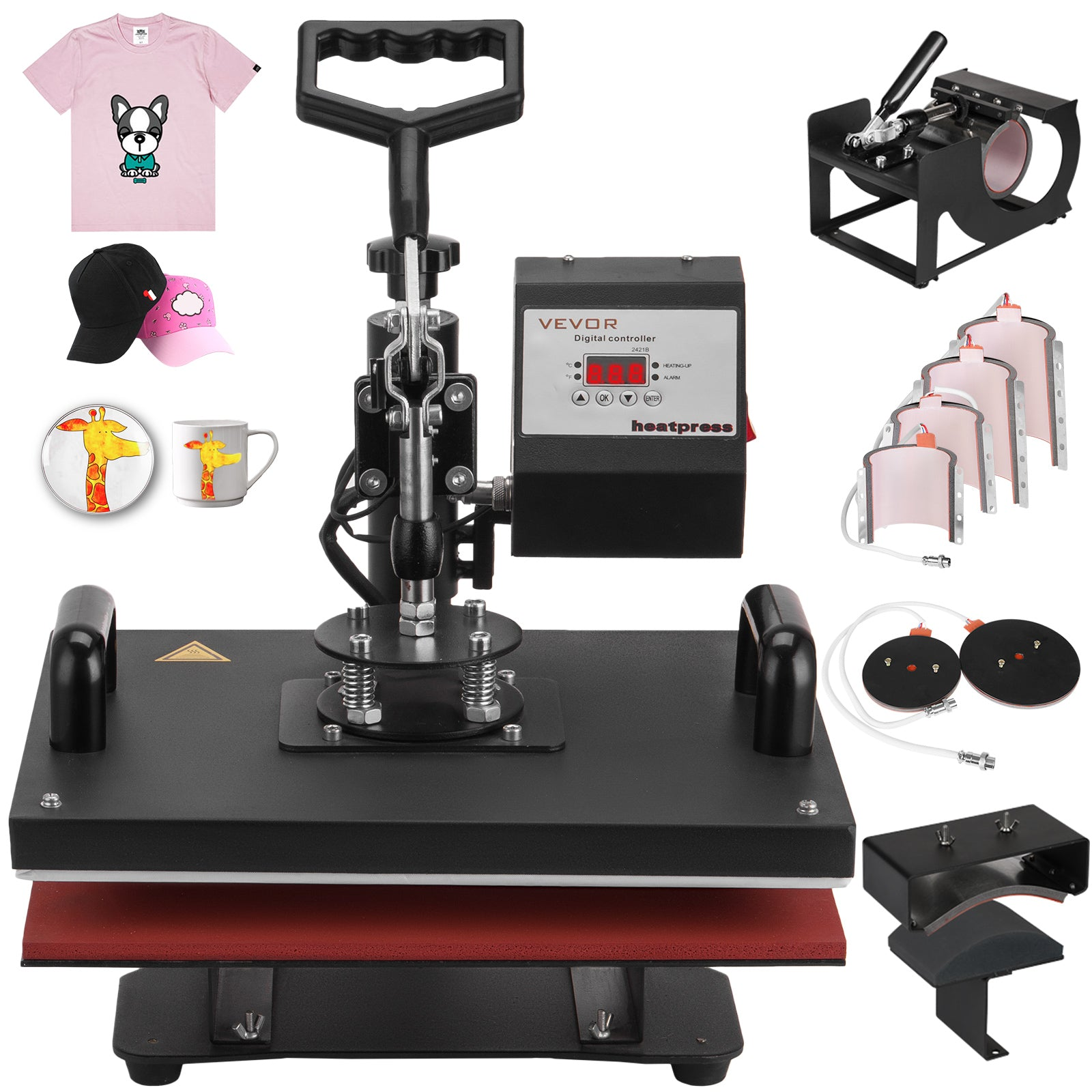 9 In 1 Heat Press Machine Transfer Sublimation T-shirt Mug Hat Plate Cap