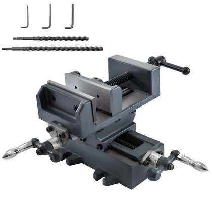 4'' Compound Cross Slide Benchtop Drill Press Vise 2 Screw Rods Vise Leadscrew