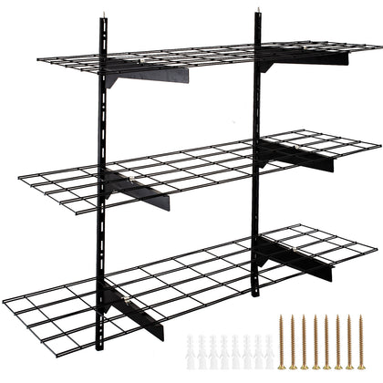 3 Pcs Black Storage Wall Shelving 132-198lbs Total Steel Construction 35.5 X 12""