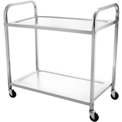 Stainless Steel 2 Shelf Utility Cart Rolling Serving Catering Prep Table