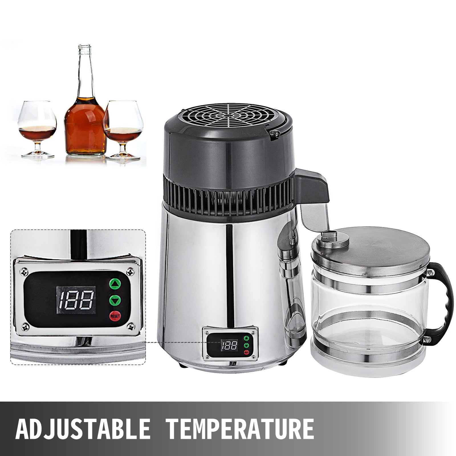 Water Distiller Purifier Temp Control 4l Water Distiller Machine Silver