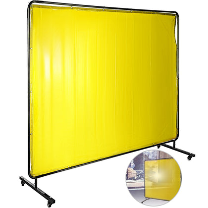 Welding Curtain Welding Screens 6' X 8' Flame Retardant Vinyl With Frame Yellow