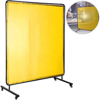 Welding Curtain Welding Screens 6' X 6' Flame Retardant Vinyl With Frame Yellow