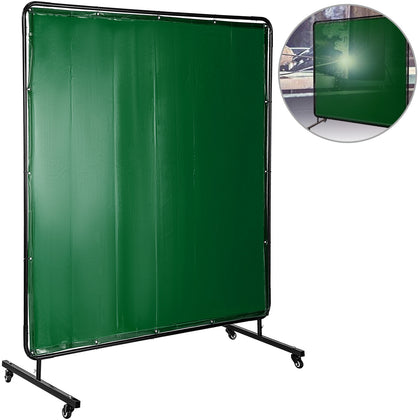 Welding Curtain Welding Screens 6' X 6' Flame Retardant Vinyl With Frame Green